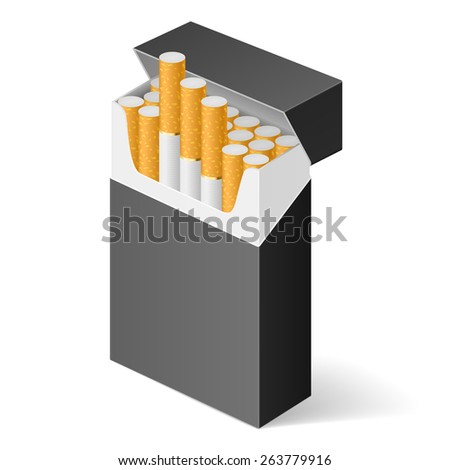 Black Pack of cigarettes isolated on white background - stock vector