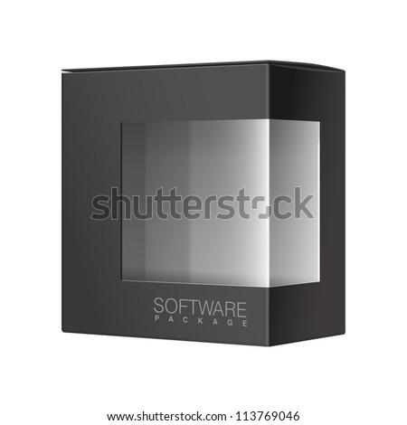 Black Package Cardboard Box with a transparent plastic window. Vector illustration