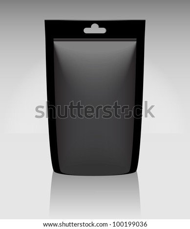 Black package foil food pouch or bag - stock vector