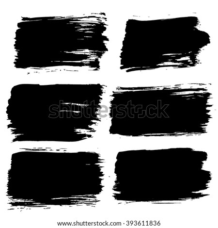 Black painted labels set isolated on white background. Grunge frame, badge, banner. Rectangle, square, strips design elements. Distress texture effect. Brush strokes, torn edges. Vector text box. - stock vector
