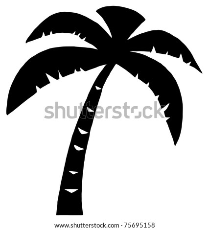 Black  Palm Three Silhouette - stock vector