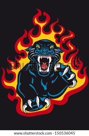 Black Panther Attack Fire Flames Vector Stock Vector ... Angry Panther