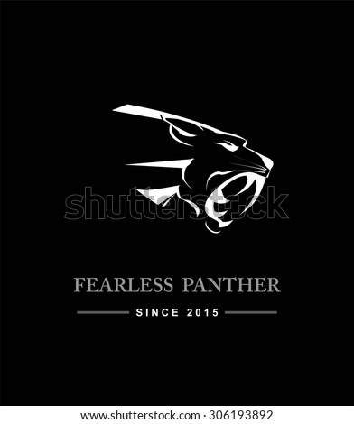Black Panther Head. Black Panther Head combine with text. Black Panther. Fearless panther. label. Panther Mascot Head Vector Graphic. Dark Predator. tiger head, roaring fang face - stock vector