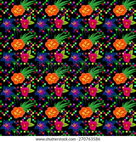 Black pattern with bright colorful flowers done with clipping mask. Vector pattern can be used for backgrounds, web design, surface textures and other crafts. - stock vector