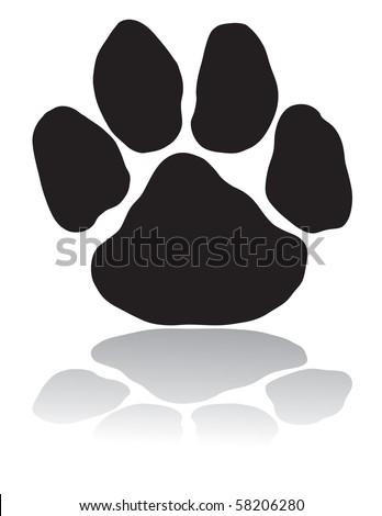 Black paw - stock vector