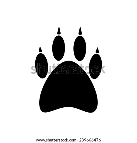 black paw icon isolated on white background. concept of pet store logotype, trail wild beast, imprint of the paw, wildlife and feline. trendy modern logo design vector illustration
