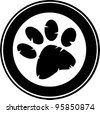 Black Paw Print Banner - stock vector