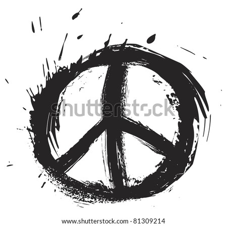 Black peace symbol created in grunge style - stock vector