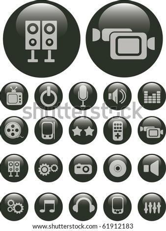 black pearl media buttons. vector - stock vector