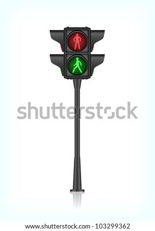 Black pedestrian traffic light, vector, 10eps. - stock vector