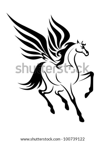 Black pegasus horse with wings for tattoo. Vector illustration - stock vector