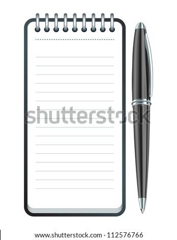 Black Pen and notepad icon. Vector illustration - stock vector