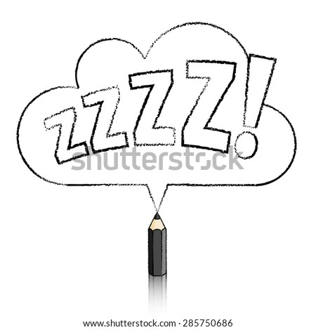 Black Pencil with Reflection Drawing Snoring Zzzz Cloud Shaped Speech Bubble on White Background - stock vector