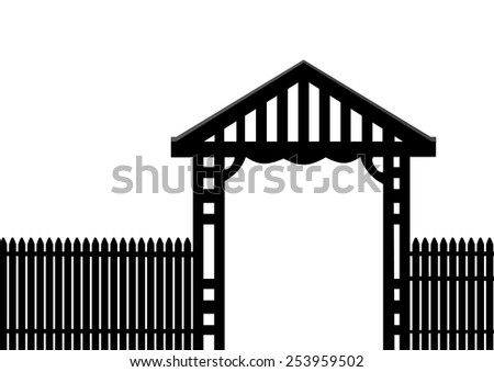 black picket fence on a white background - stock vector