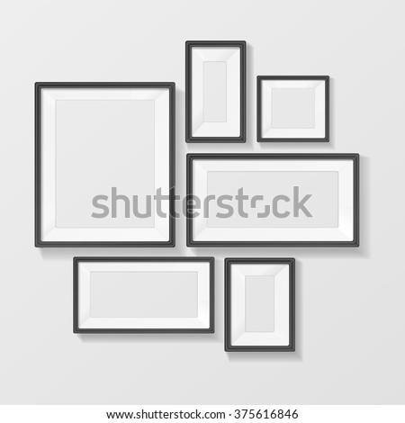 Black Picture Frame Template Set. Vector illustration - stock vector