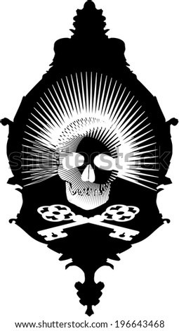 Black Pictures Frame With A White Skull And Crossbones Pattern. Formed From  The Bones Of