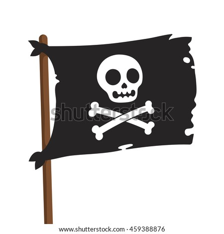 Black pirate flag illustration. Jolly Roger with cartoon skull and crossbones. Vector icon.
