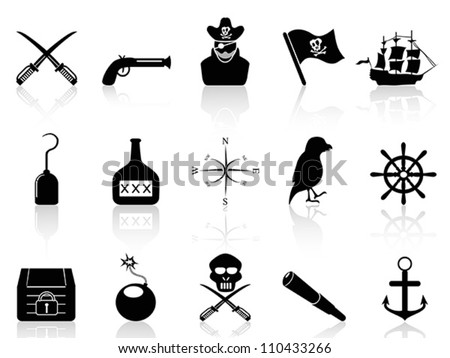 black pirate icons set - stock vector