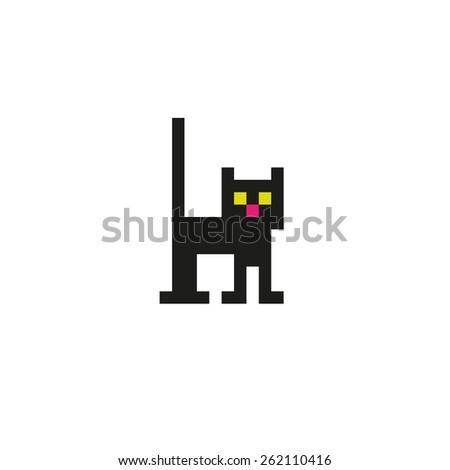 Black pixel cat. - stock vector