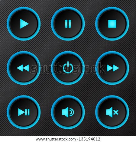 Black plastic vector power buttons set