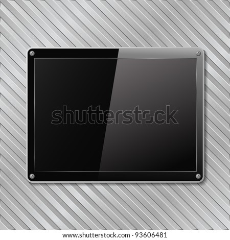 Black plate on metal striped background, vector eps10 illustration - stock vector
