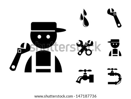 Black Plumber Icons Set, eps vector illustration - stock vector