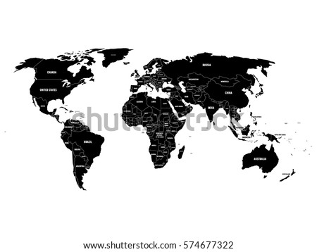 black political world map with country borders and white state name labels hand drawn simplified