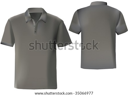 Black polo shirt design template with front and back. - stock vector