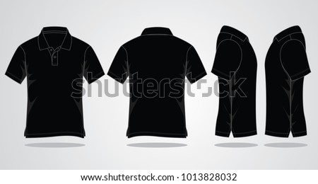 Black Polo Shirt Vector Template Front Back เวกเตอร์สต็อก ...