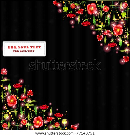 black poppy background color glossy banner label