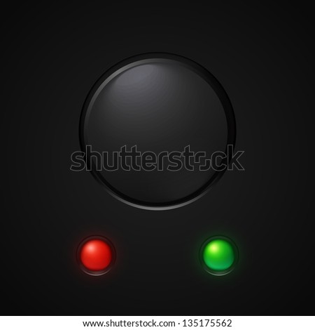 Black power button with led light. Vector illustration. - stock vector