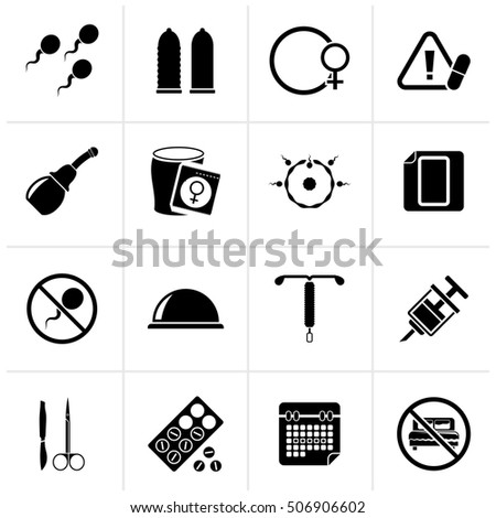 Black Pregnancy and contraception Icons - vector icon set