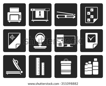 Black Print industry Icons - Vector icon set 2 - stock vector
