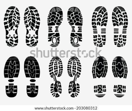 Black  prints of shoe, vector Illustration - stock vector