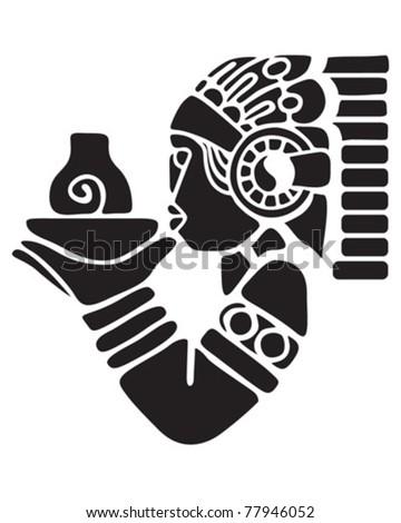 Black profile of the person in the traditional dress - stock vector