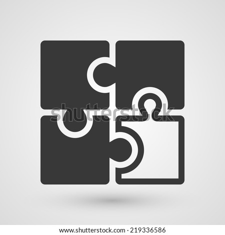 Black puzzle icon. Symbol about solution concept. - stock vector