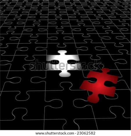 Black Puzzle Plan with Red Piece - stock vector