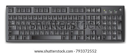 Black qwerty keyboard with US english layout – stock vector