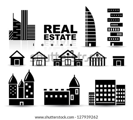 Black real estate | houses | buildings icon set. Isolated on white - stock vector