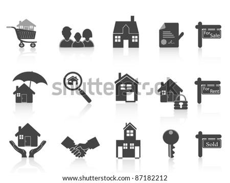 black real estate icon - stock vector