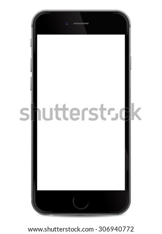 Black realistic mobile smartphone with blank screen, isolated on white background - vector illustration eps 10 - stock vector