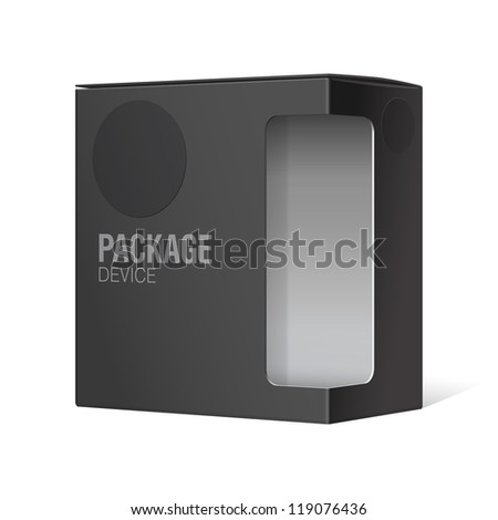 Black Realistic Package Cardboard Box with window. Vector illustration