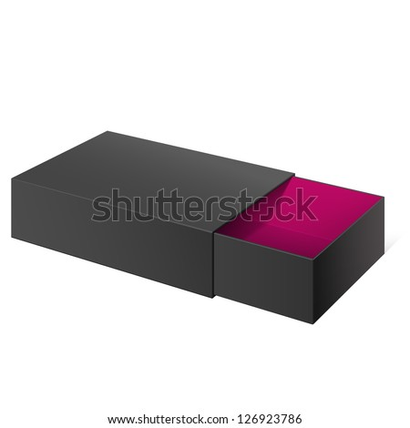 Black Realistic Package Cardboard Sliding Box Opened. For small items, matches, and other things. Vector Illustration - stock vector