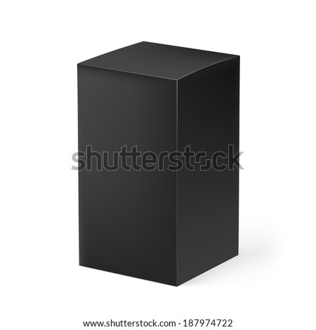 Black rectangular carton box isolated on white background - stock vector