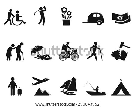 black retirement life icons set - stock vector