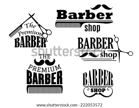 Black retro barber shop icons, emblems or logos with moustache, combs and scissors for service industry design - stock vector