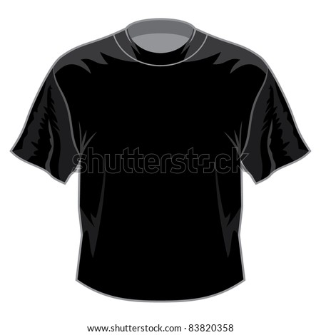 Black retro basic T-shirt - stock vector