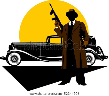 Black retro car on a background of yellow moon; - stock vector