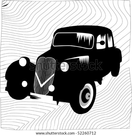 Black retro car on a black background; - stock vector