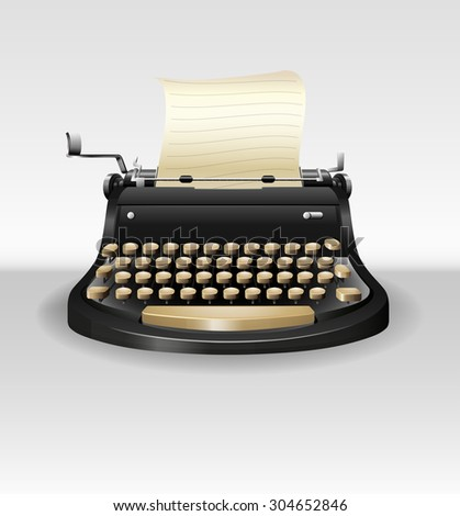 Black retro typwriter with paper illustration